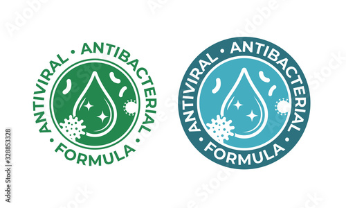 Obraz Antiviral antibacterial coronavirus formula vector icons. Coronavirus 2019 nCov, Covid 19 NCP virus protection, clean health safe labels - fototapety do salonu