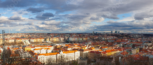Canvastavla Panorama of Prague City in sunset.