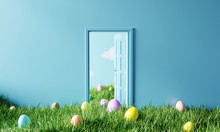Easter Door With Colorful Eggs...