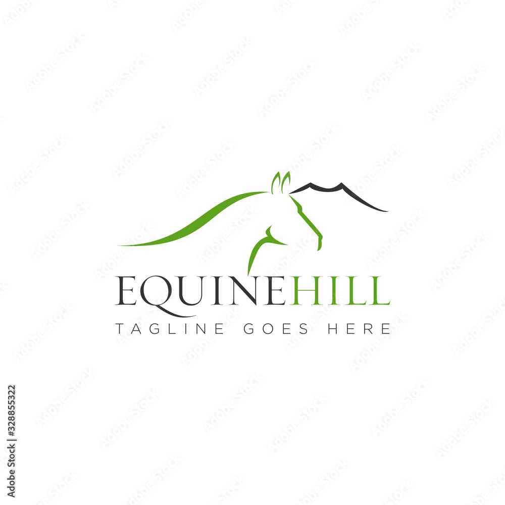 Obraz equine hill logo, with mountain and sophistic head horse vector fototapeta, plakat