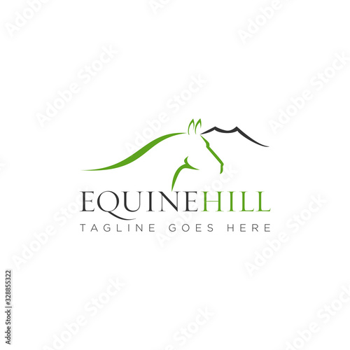 Fototapeta equine hill logo, with mountain and sophistic head horse vector obraz