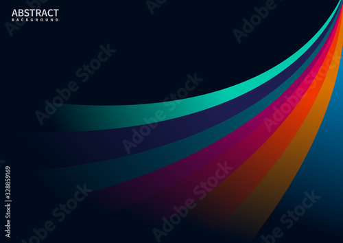 Abstract colorful curves line with on black background space for your text Canvas Print