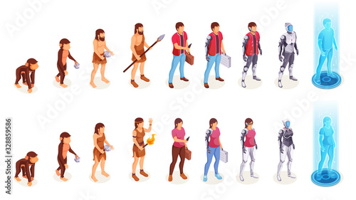 Fotomural Human evolution of man and woman from ape monkey to office worker and cyborg