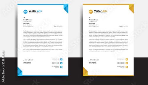 Fototapeta Business style letterhead template design with blue and orange color obraz