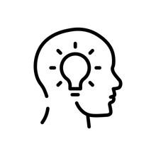 Idea Head Icon. Flat Vector Graphic In White Background.