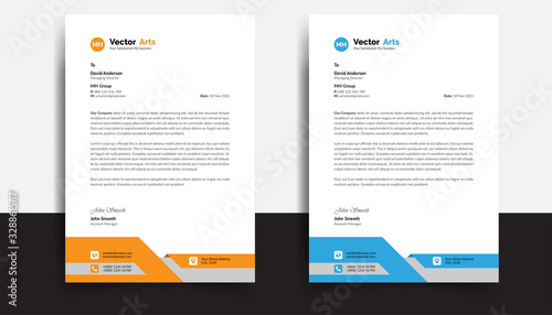 Fototapeta Modern And Clean colorful Letterhead Design Template Business Style Professional Template Design Creative Business Letterhead Design Template for your business. Simple and Clean Lettehead obraz