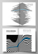 The vector layout of two A4 format modern cover mockups design templates for bifold brochure, magazine, flyer, booklet, report. Abstract big data visualization concept backgrounds with lines and cubes