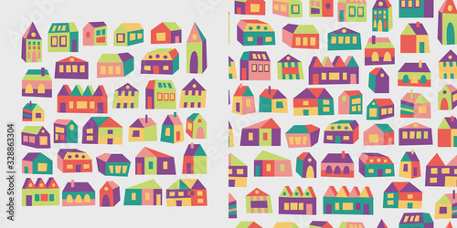 Seamless pattern and set with colorful asymmetric houses Wallpaper Mural
