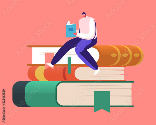 Photo Tiny Male Character Bookworm Reading in Library Sitting on Huge Pile of Books