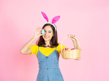 Asian Woman Wear Bunny Ear Hol...