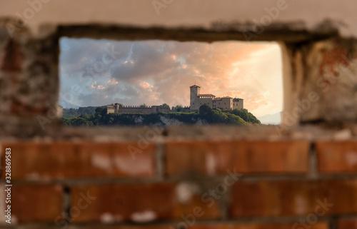 Fotografie, Tablou Angera Castle seen through an embrasure