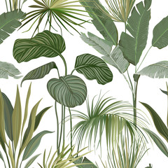 Panel Szklany Liście Seamless Tropical Floral Print with Exotic Green Jungle Philodendron Monstera Leaves on White Background. Rainforest Wild Plants Wallpaper Template, Natural Textile Ornament. Vector Illustration