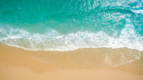 Fototapeta Fototapety z morzem do Twojej sypialni - Top view aerial image from drone of an stunning beautiful sea landscape beach with turquoise water with copy space for your text.Beautiful Sand beach with turquoise water,aerial UAV drone shot