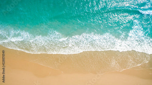 Valokuva Top view aerial image from drone of an stunning beautiful sea landscape beach with turquoise water with copy space for your text