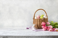 Wicker Basket With Easter Eggs...