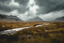 Spectacular View Of The Mountain In Scottish Highlands On A Rainy Day