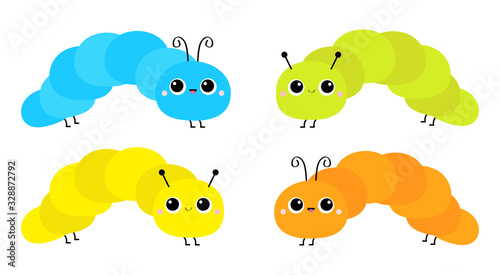 Cute crawling catapillar bug set. Caterpillar insect icon. Cartoon funny kawaii baby animal character. Colorful bright yellow blue green orange color. Flat design. White background. Isolated.
