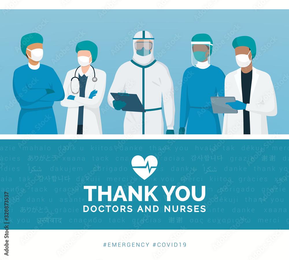 Fototapeta Thank you doctors and nurses
