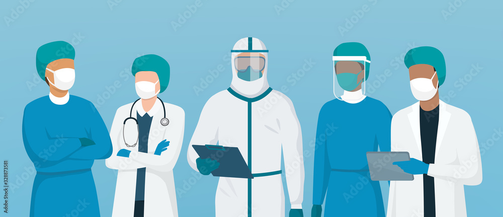 Fototapeta Professional doctors and nurses wearing protective suite and standing together to fight coronavirus