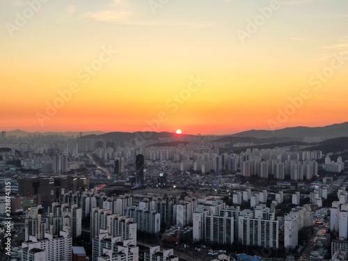 Fototapeta Drone view sunset obraz na płótnie