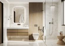 3d Modern Bathroom With Wooden And White Marble Details