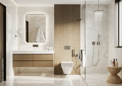 Fotografia 3d modern bathroom with wooden and white marble details