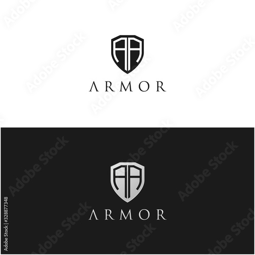 Security Shield / Armor with Initial letter AA logo design inspiration Canvas Print