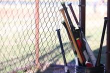 Bucket Of Baseball Bats In Dug...