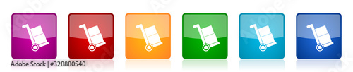 Delivery service icon set, shipping barrow colorful square glossy vector illustr Fototapete