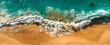 Aerial view of turquoise ocean waves in Kelingking beach, Nusa penida Island in Bali, Indonesia. Beautiful sandy beach with turquoise sea. Lonely sandy beach with beautiful waves. Beaches of Indonesia