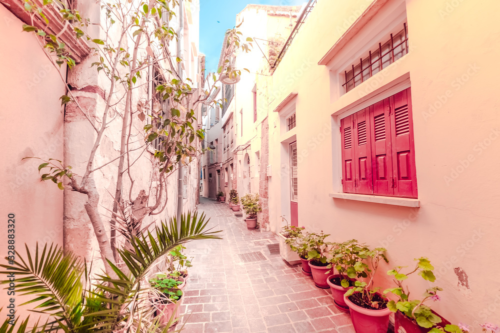 Amazing narrow streets of popular destination on Crete island. Sunny morning in Greece. Traditional architecture and colors of mediterranean city. Place for romantic vacation and summer travel