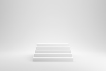 Blank Stairs Or Staircase On White Studio Background With Success Concept. 3D Rendering.