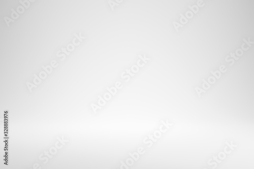 Obraz Blank white gradient background with product display. White backdrop or empty studio with room floor. 3D rendering. - fototapety do salonu