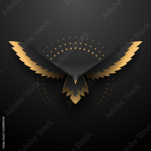 Fotografie, Obraz Black and gold eagle illustration