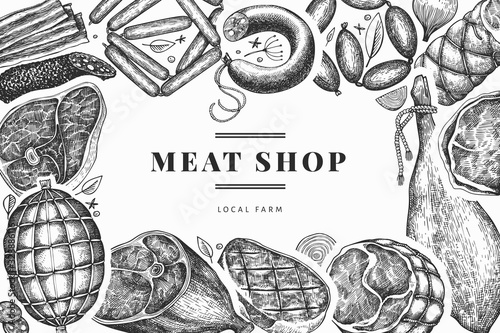 Fototapeta Vintage vector meat products design template. Hand drawn ham, sausages, jamon, spices and herbs. Retro illustration. Can be use for restaurant menu. obraz