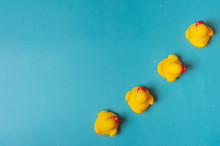 Four Yellow Rubber Ducks On A Blue Background. Bath Concept. Copy Space, Flat Lay.