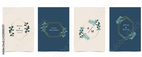 Fotografiet Collection of natural background set with leaf,geometric