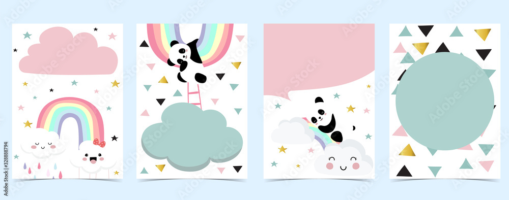 Fototapeta Collection of panda background set with cloud, rainbow,balloon.Editable vector illustration for website, invitation,postcard and sticker