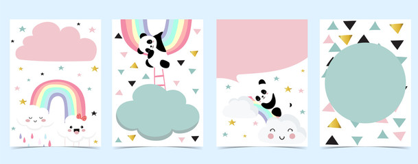 FototapetaCollection of panda background set with cloud, rainbow,balloon.Editable vector illustration for website, invitation,postcard and sticker