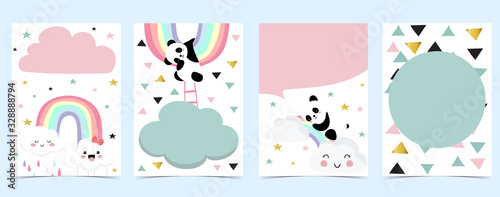 Fotografia Collection of panda background set with cloud, rainbow,balloon