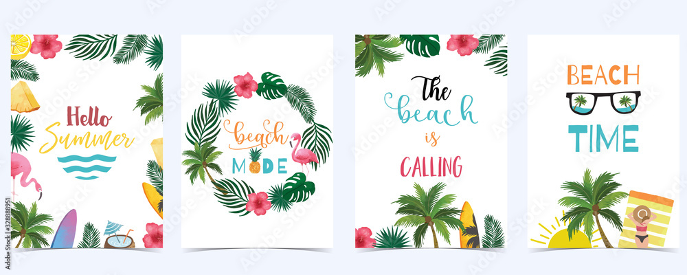 Fototapeta Collection of summer background set with fruit,flamingo,coconut tree.Editable vector illustration for New year invitation,postcard and website banner