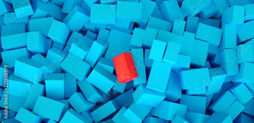 3d ILLUSTRATION, of blue and one red abstract crystal background, cube texture, wide panoramic for wallpaper