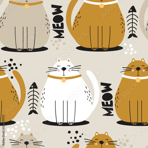 Happy cats, hand drawn backdrop. Colorful seamless pattern with animals, fishes. Decorative cute wallpaper, good for printing. Overlapping background vector. Design illustration