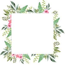 Watercolor Flower Frames Of Va...