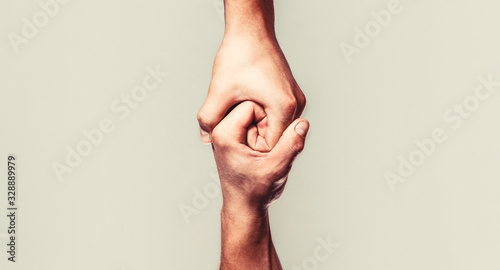 Photo Helping hand outstretched, isolated arm, salvation