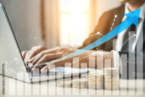 Fototapeta Double Exposure Image of Business and Finance - Businessman with report chart up forward to financial profit growth of stock market investment. obraz