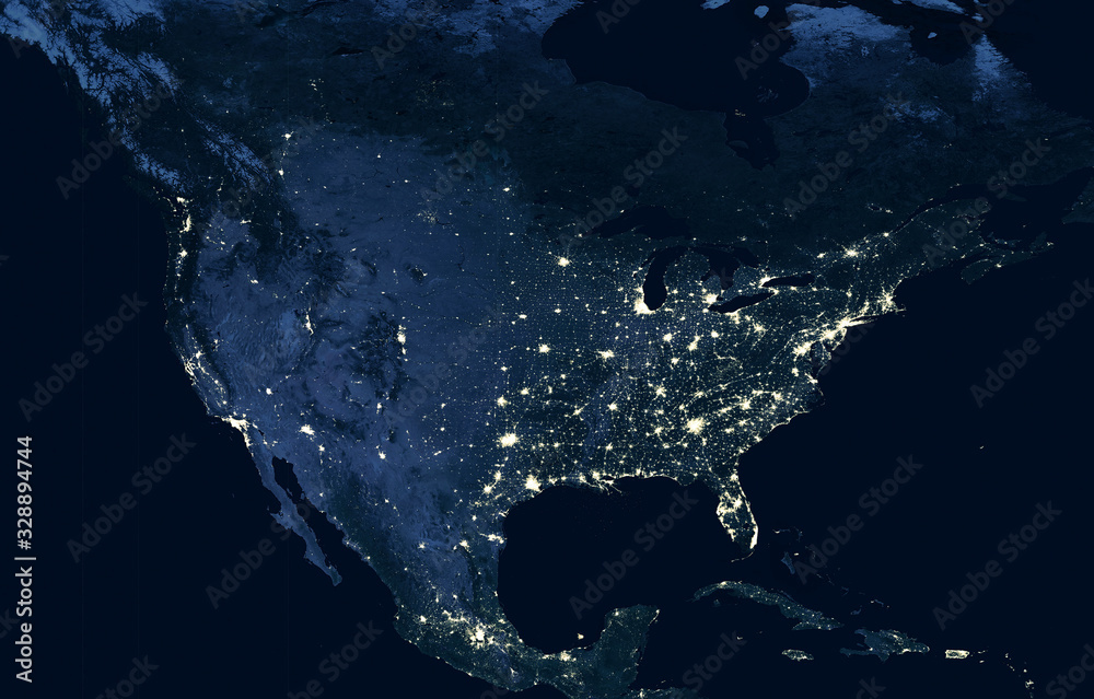 Fototapeta Earth at night, view of city lights showing human activity in USA from space. North America on world dark map on global satellite photo.  Elements of this image furnished by NASA.