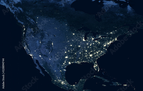 obraz lub plakat Earth at night, view of city lights showing human activity in USA from space. North America on world dark map on global satellite photo. Elements of this image furnished by NASA.
