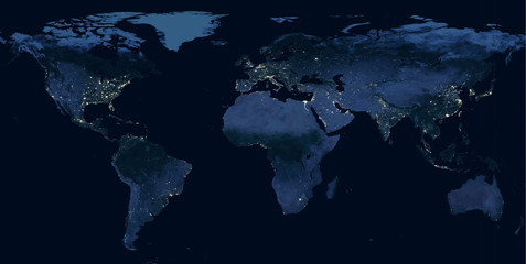 Earth at night, view of city lights showing human activity in North America, Europe and East Asia from space. Elements of this image furnished by NASA.