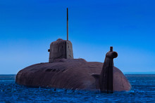 A Submarine Surfaced Above The Water. Part Of The Submarine Peeps Out Of The Sea. Concept - Military Naval Forces. Naval Military Equipment. Submarine On The Background Of Blue Sky. Shipbuilding